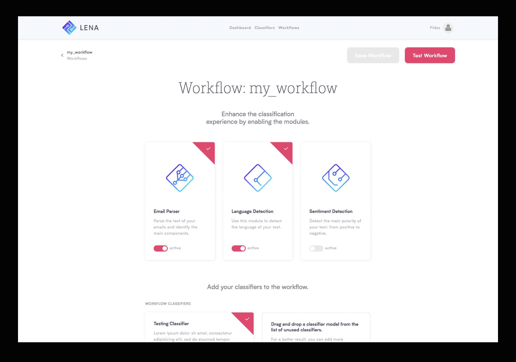Workflow Lena Natural Language Processing